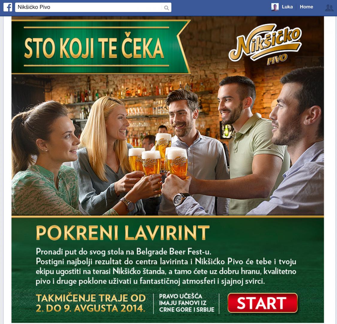 Jedna od aplikacija na strani Nikšićkog piva