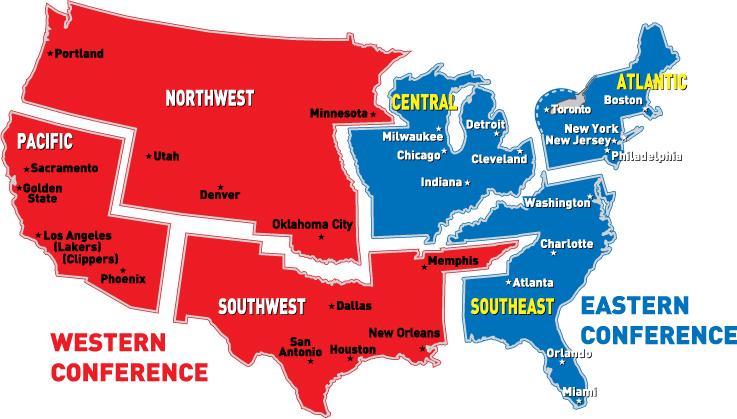 NBA divizije mapa