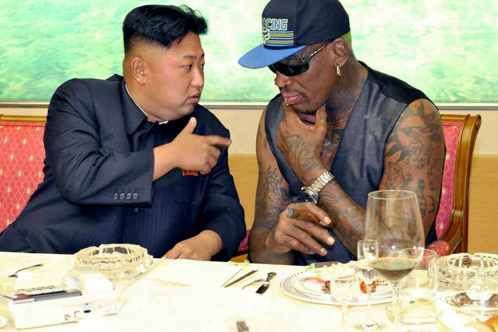 epa03855456 North Korean leader Kim Jong-un (L) meets with former NBA star Dennis Rodman in Pyongyang, North Korea, on 07 September 2013, according to the regime's official Korean Central News Agency. The news wire said that they watched a friendly basketball game and had dinner together. The photo is released by the Rodong Sinmun, an organ of the ruling Workers' Party of Korea.  EPA/Rodong Sinmun / HANDOUT SOUTH KOREA OUT HANDOUT EDITORIAL USE ONLY/NO SALES