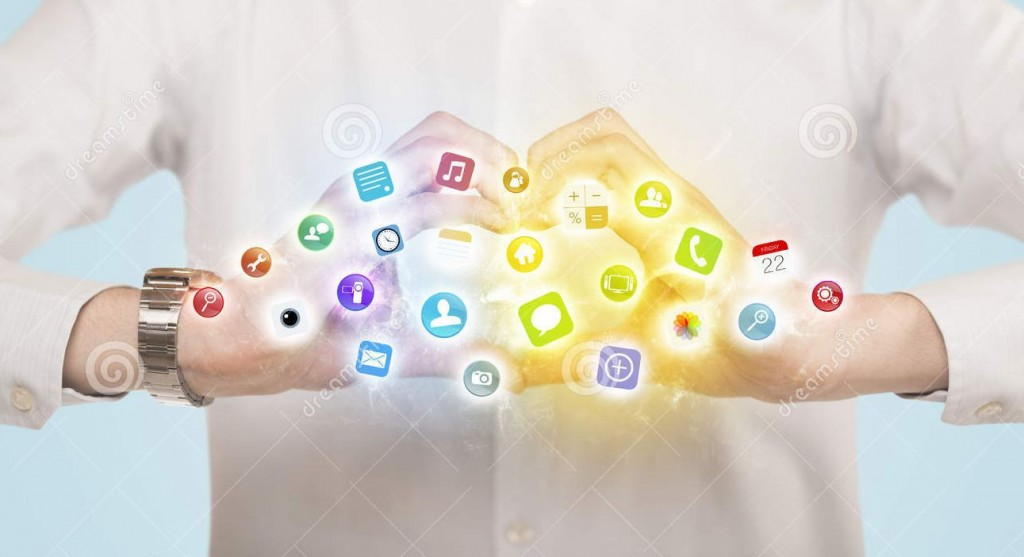hands-creating-form-mobile-app-icons-colorful-center-48124670