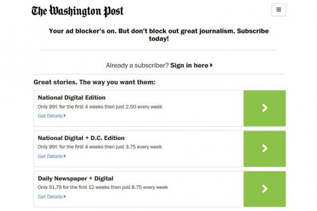 The Washington Post - odgovor na adblokere.