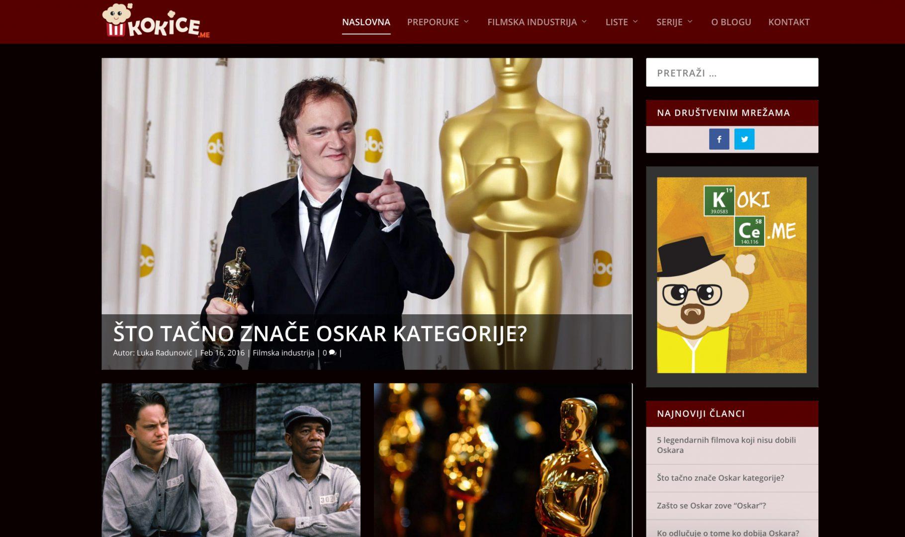 Naslovna strana filmskog bloga Kokice.me